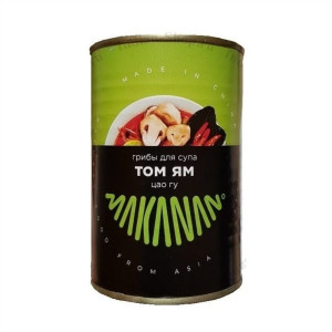 Грибы целые для супа Том Ям (Цао Гу) ж/б 400г Makanan