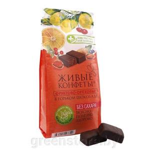 Фруктово-ореховая конфета в горьком шоколаде глазированная 115г Лакомства для здоровья
