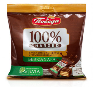 Конфеты вафельные Чержед без сахара в горьком шоколаде 150г Победа