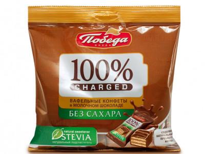 Конфеты вафельные Чержед без сахара в молочном шоколаде 150г Победа