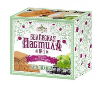 Белевская пастила Яблочная с черной смородиной БЕЗ сахара 125гр Белевские Сладости