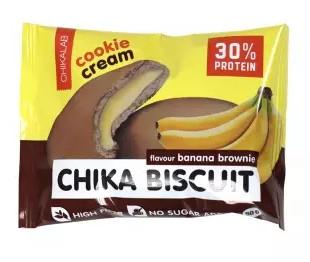 """Печенье протеиновое неглазурованное с начинкой """"Бисквит банановый брауни"""" 50г CHIKALAB"""