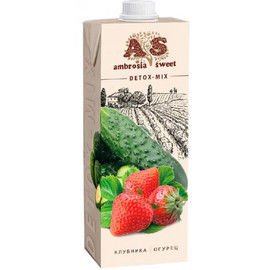 Детокс сок Клубника-огурец-лимон-базилик тетра пак 1л Ambrosia Sweet