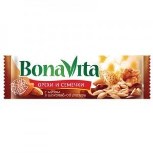 Батончик ореховый семена подсолнечника орехи и мед в шоколадной глазури 35г Bona Vita