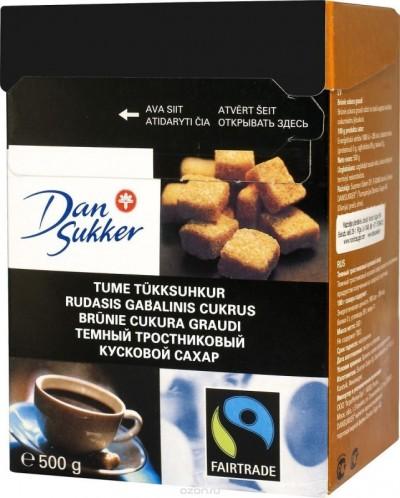 Сахар темный тростниковый кусковой 500г DanSukker