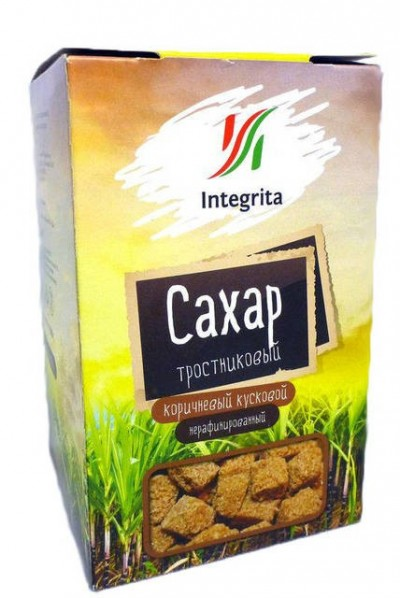 Сахар тростниковый коричневый кусковой 0.5кг Integrita