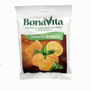 Карамель леденцовая на травах с витамином C Лимон и мята 60г Bona Vita
