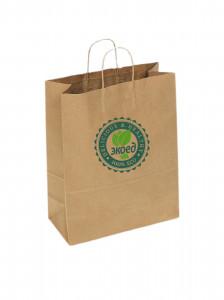 Пакет бумажный с ручками лого Экоед