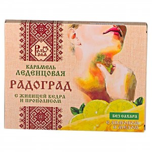Леденцы живичные лимон-мед без сахара 10шт Радоград