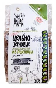 Макаронные изделия Рожки пшеничные цельнозерновые 350г Умная мама