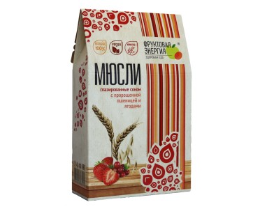 Мюсли глазированные соком из пророщенной пшеницы с ягодами 310г/7 Белое дерево
