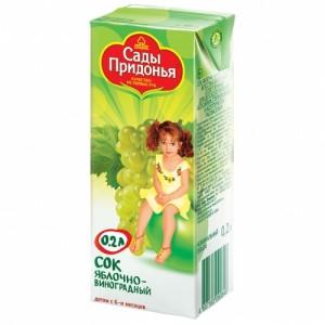 Сок яблоко/виноград осветленный 200мл Сады Придонья