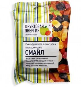 Смесь фруктово-ореховая Смайл (миндаль-кешью-изюм-ананас) 50г Фруктовая энергия