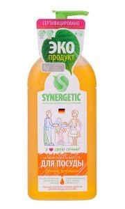 Средство для мытья посуды СОЧНЫЙ АПЕЛЬСИН флакон ( дозатор) 1л Synergetic