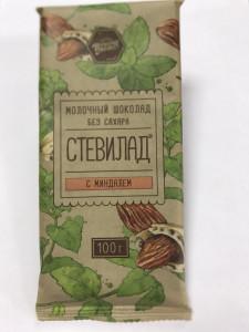 Шоколад молочный Миндаль на стевии 100г Стевилад
