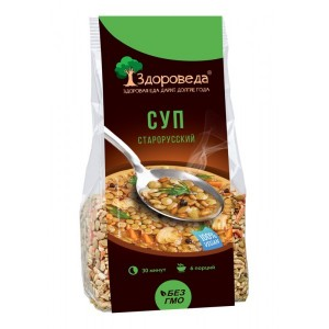 Суп старорусский из полбы и зеленой чечевицы 250г Здороведа