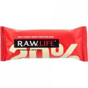 Батончик протеиновый 20% фруктово-ореховый Клубника 47г RAW