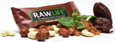 Батончик орехово-фруктовый Какао-Мята 47г R.A.W Life