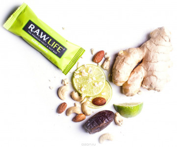 Батончик орехово-фруктовый Лайм-Имбирь 47г R.A.W Life
