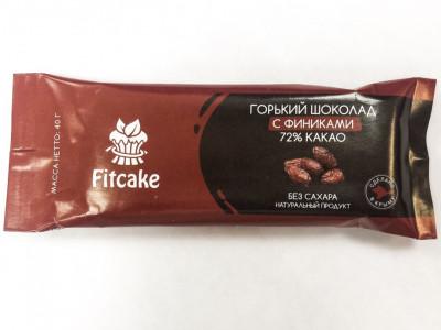 Батончик шоколад черный без сахара с финиками 40г FitCake