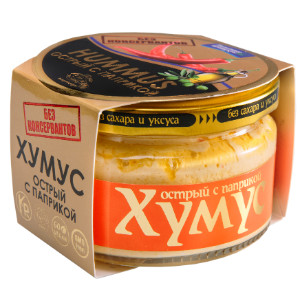 Хумус без консервантов с паприкой острый ст/б 200г AmFood