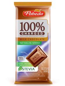 Шоколад Молочный без сахара 36% какао Чаржед 100г Победа