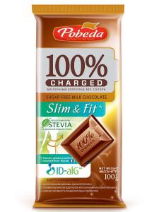 Шоколад Молочный без сахара Чаржед Слим энд фит 100г Победа