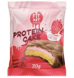 Печенье протеиновое Клубника со сливками 70г FitKit