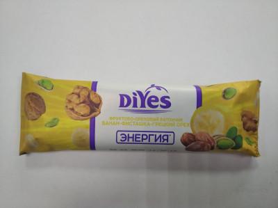 Батончик фруктово-ореховый Банан-фисташки-грецкий 40г ДиYes