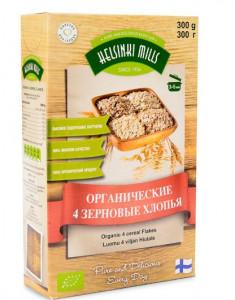 Хлопья 4-х зерновых органические 300г Helsinki Mills