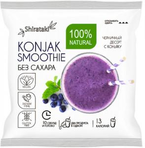 Десерт без сахара черничный в шоубоксе 20 пачек Konjak shake Ширатаки