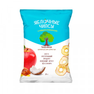 Чипсы яблочные с мёдом и кокосом 25г Здороведа