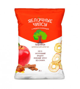Чипсы яблочные с мёдом и корицей 25г Здороведа