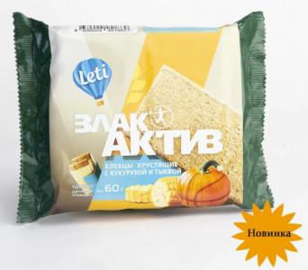 Хлебцы хрустящие ЗлакАктив с кукурузой и тыквой 60г Leti