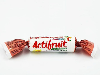 Таблетки жевательные вкус клубника с Вит С с сахаром 2,5г 10шт Актифрут