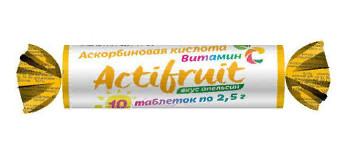 Таблетки жевательные вкус апельсин с Вит С с сахаром 10шт 2.5г Актифрут